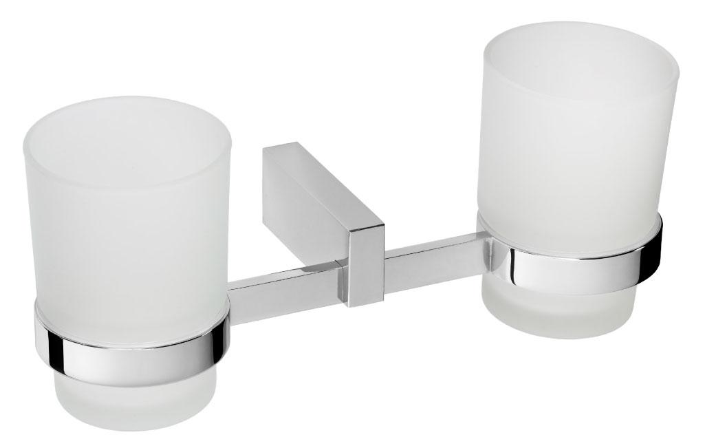 double bathroom tumbler glass and chrome - Bathroom Tumbler