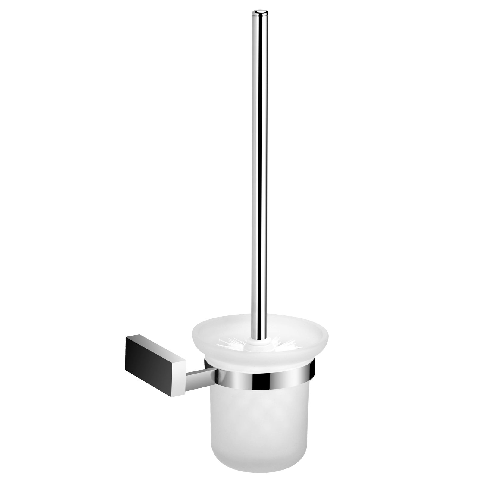 BATHROOM ACCESSORIES WALL MOUNTED CHROME GLASS SHELVES TOILET BRUSH ...
