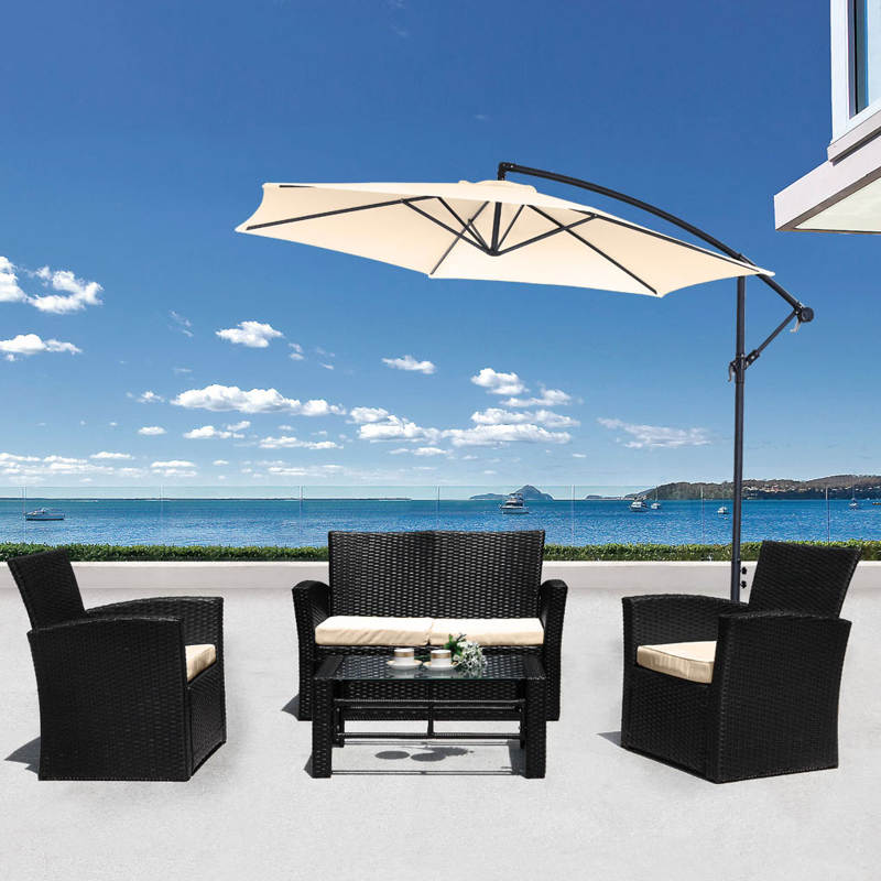 The Aries Sofa Set From Jarder Black Rattan With Cream Seat Cushions