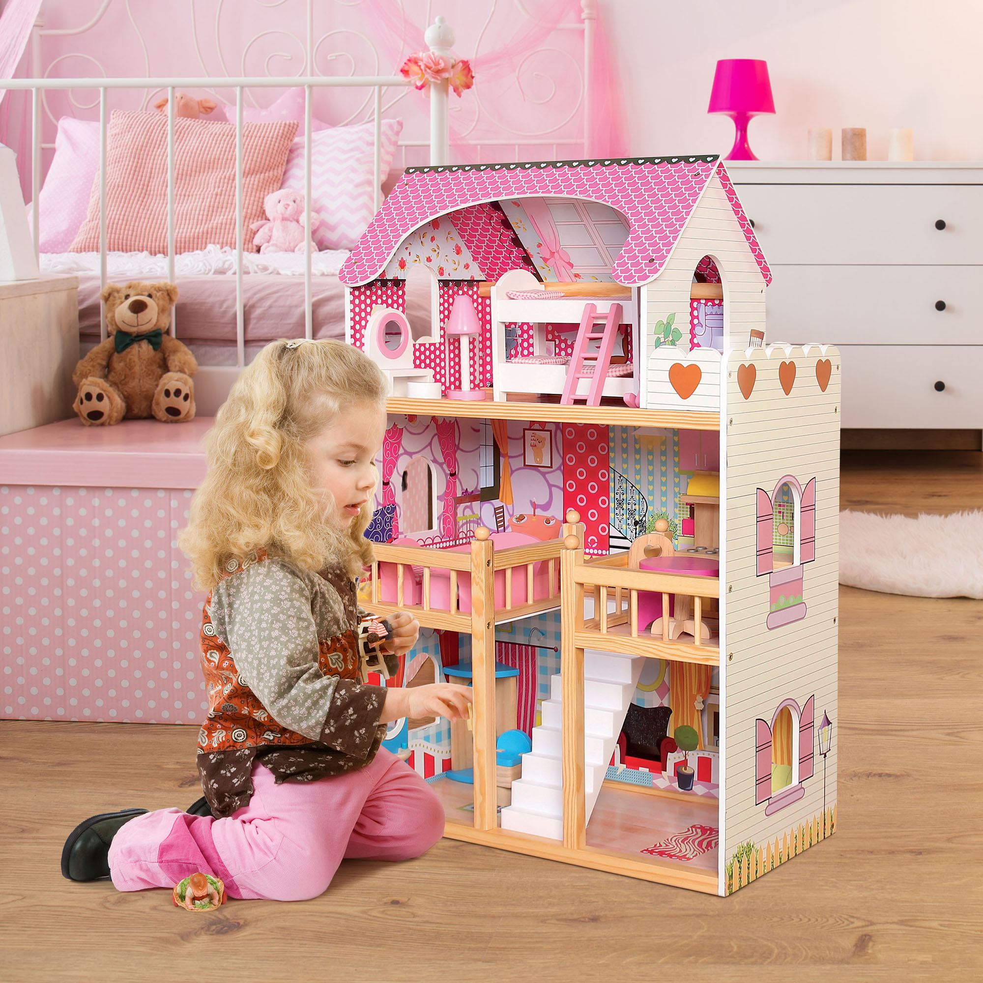 Dolls House Large Wooden Kids Play Dollhouse With Furniture